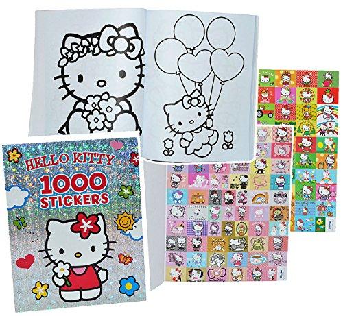 alles-meine.de GmbH XXL Malbuch mit 1000 Sticker + 128 Seiten - Hello Kitty Katze - Malvorlagen Kätzchen Tiere Blumen - Aufkleber für Mädchen Malbücher Stickern - Stickerbuch / S..