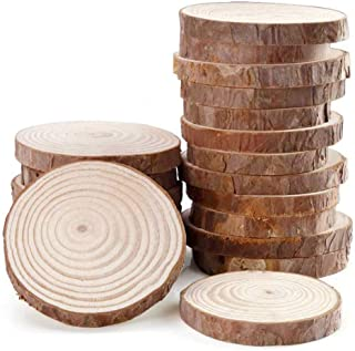 15pcs 3.1-3.5inch Natural Wood Slices Round Wood Discs Tree Bark Wooden Circles for DIY Crafting Coasters Arts Crafts Home Decorations Vintage Wedding Ornaments …