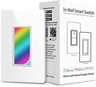 Innens WiFi Smart Light Switch, In-wall Smart Switch that Compatible with Alexa, Google Home and IFTTT, No Hub required, with Timer, Scene Light, Wireless Remote APP Control From Anywhere