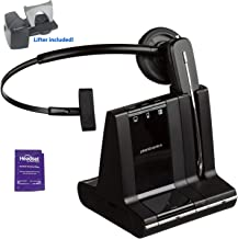 Plantronics Savi W740 Wireless Headset System Bundled with Lifter and Headset Advisor Wipe (Renewed)