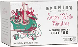 Barnie's Santa's White Christmas Single Serve Coffee   Coffee Pods Compatible With Keurig Brewers   Coconut, Caramel and Vanilla Coffee   Naturally Flavored   Medium Roast   Gluten Free   10 Count