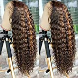 Ten Chopsticks Wigs HD Transparent 13x6 Highlight Ombre T4/27 Color Curly Lace Front Wig Pre Plucked Bleached Knots Human Hair Wigs for Women Brazilian Deep Wave Curly Wig Human Hair 24inch