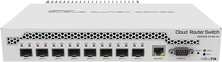 MikroTik 9-Port Desktop Switch, 1 Gigabit Ethernet Port, 8 SFP+ 10Gbps Ports (CRS309-1G-8S+IN)
