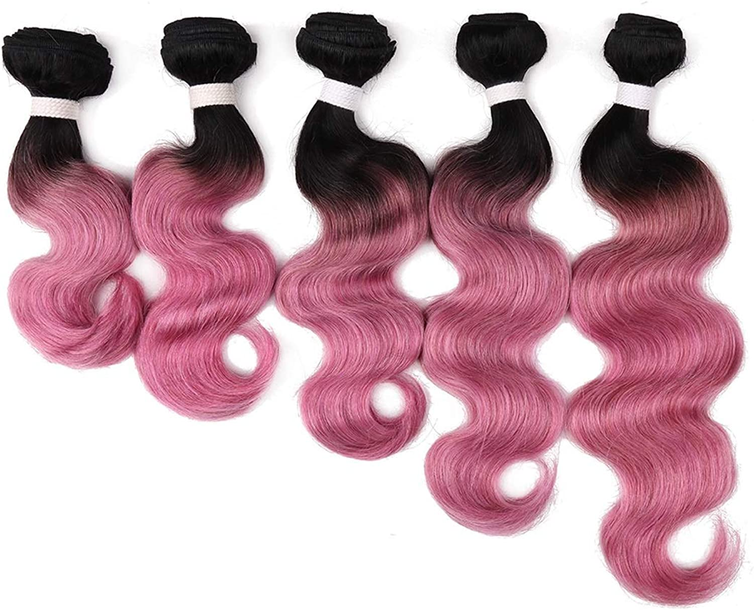 WEATLY 1018inch Real Hair Curtain Body Wave Ladies Hair Curler pink gold pink Powder pink Red color Curtain (color   pink powder, Size   12inch)