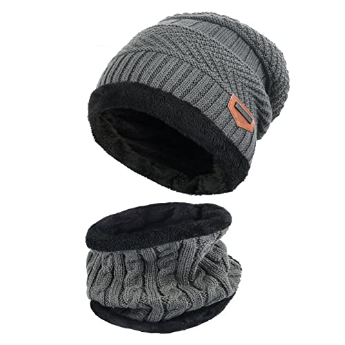 eb9c430379e Vbiger Warm Knitted Hat and Circle Scarf Skiing Hat Outdoor Sports Hat Sets