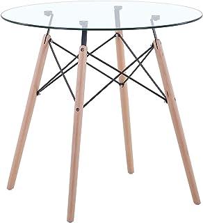 GrandCA HOME Table de Salle à Manger, Table de Cuisine Ronde Blanche Moderne Nordique avec Pieds en Bois de hêtre pour Bur...