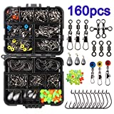 160pcs/box Fishing Accessories Kit, Including Jig Hooks, Bullet Bass Casting Sinker Weights, Different Fishing Swivels Snaps, Sinker Slides, Fishing Line Beads, Fishing Set with Tackle Box