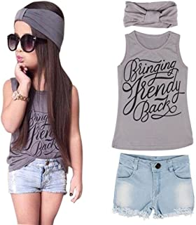 Toddler Kid Fashion Clothing Set GoodLock Baby Girls Vest Top Clothes + Jeans Pants Shorts+Scarf Suit Outfit 3Pcs (Gray, Age:6-7Y)