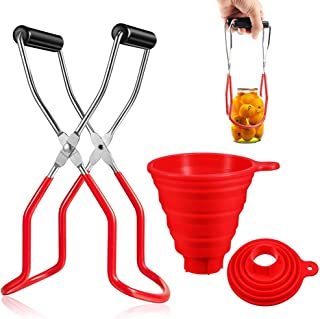 Stosts Canning Jar Lifter and Wide Mouth Funnel, Stainless Steel Jar Lifter with Nonslip Handle for Safe and Secure Grip, Collapsible Large Silicone Funnel Compatible with Wide and Regular Mason Jars