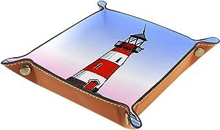 Plateau à bijoux Phare au bord de la mer Plateau de rangement pour bijoux en cuir Petite boîte de rangement Organisateur d...