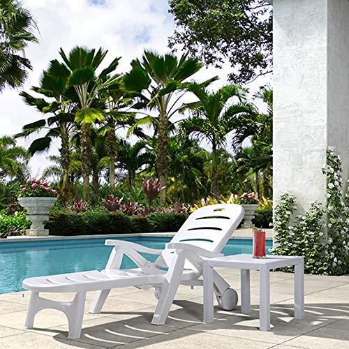 AAGYJ Sillas de Patio reclinables portátiles, sillón de Playa Plegable con Ruedas...