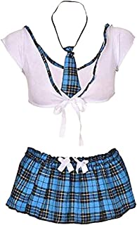 لانجيري للنساء على طراز زي مدرسي للفتيات مع تنورة جيه كيه، بلون ازرق، مقاس واحد