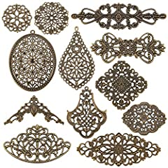 10 styles available: triangle, flat round, filigree joiner, 3 styles flower, rhombus, pendant, big pendant, drop, two styles oval. Size: 29-91x27.5-81x0.5-1mm, hole: 1-3mm. Please see the product description for size details. Material: Tibetan style ...