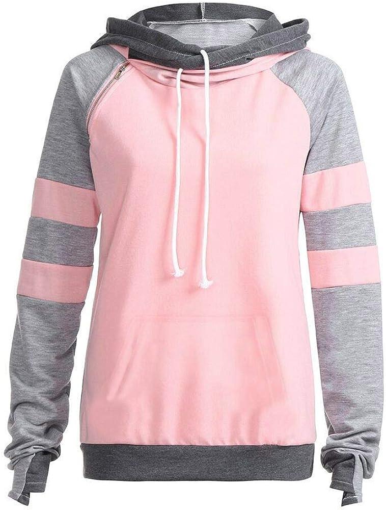 Fhuuly Mode Winter Damen Pulli Hoodie Pullover Jumper Sweatshirt Kapuzenpulli Top Bluse Hoodies Kapuzenpullover Rosa