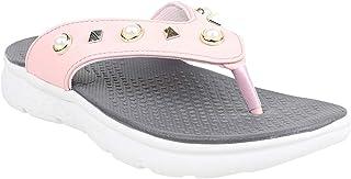 KazarMax Women Pink Pearls Studded Memory Foam Slipper (Made in India)