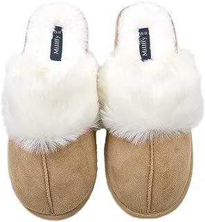 Millffy Nordic Style Faux Fur Trim Rabbit Hair Women's Suede Memory Foam Slippers Indoor eva Slipper