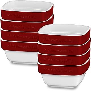 KitchenAid 8 Pack Streamline Ceramic 8oz Ramekins Dish Baking Set Crème Brule Soufflé Flan Serveware