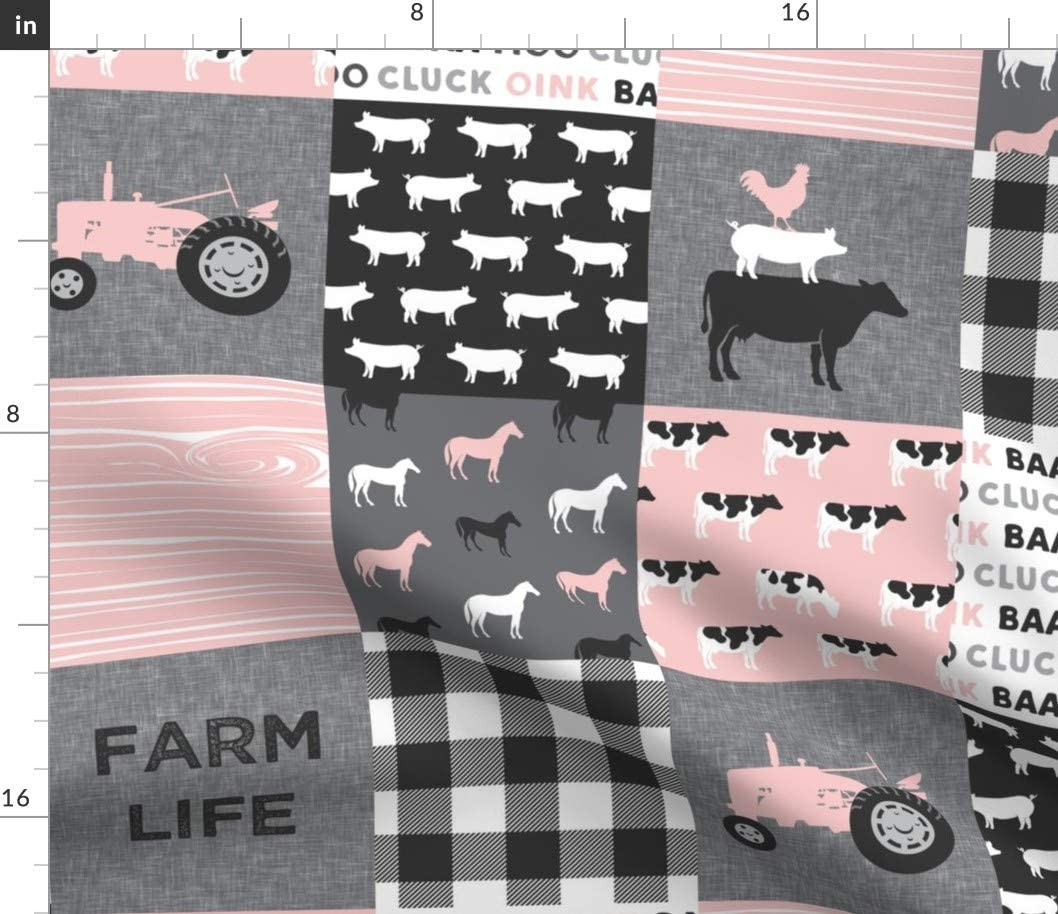 Spoonflower Fabric - Farm Life Cows OFFicial mail order Patchwork Pigs Chicago Mall Tractor Grey
