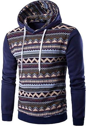 Long Sleeve Tee,Mens Autumn Winter National Style Print Long Sleeve Hoodie Top Blouse for Men Teen Boys