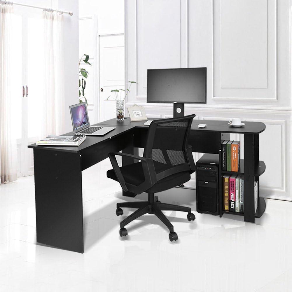 Scrivania angolare a L bianco, nero Zerone con mensola in truciolato per computer