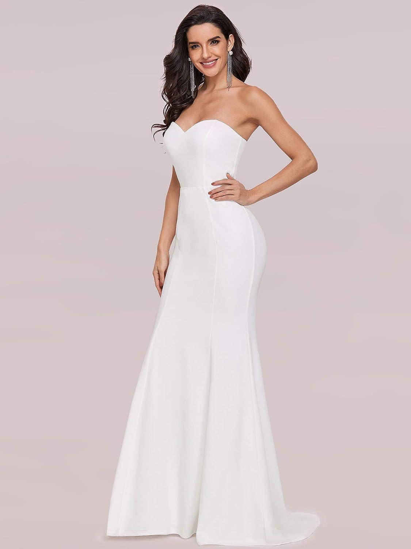 Ever-Pretty Women's Off-Shoulder Sleeveless Sweep Train Sweetheart Wedding Dresses for Bride 2021 0249