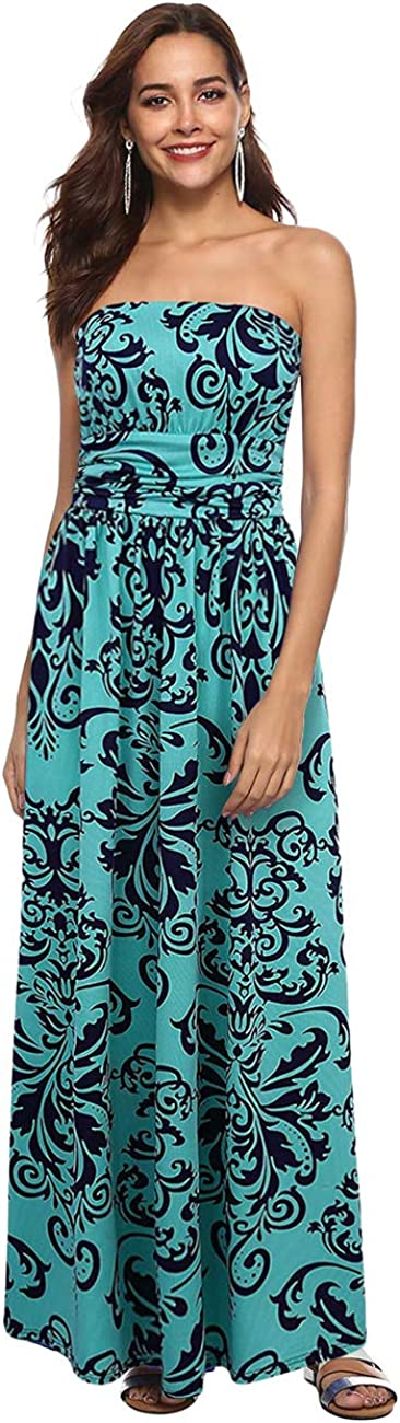 GloryStar Women's Floral Casual Beach Party Maxi Dress