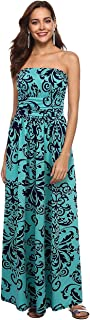 Women Strapless Maxi Boho Vintage Summer Beach Floral Print Hawaiian Party Long Dress