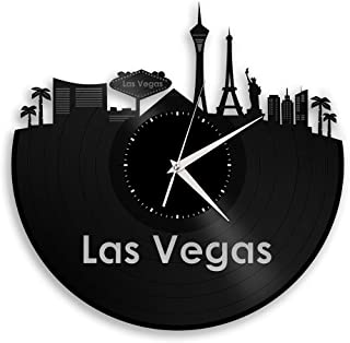Las Vegas Vinyl Wall Clock City Skyline Travel Gift