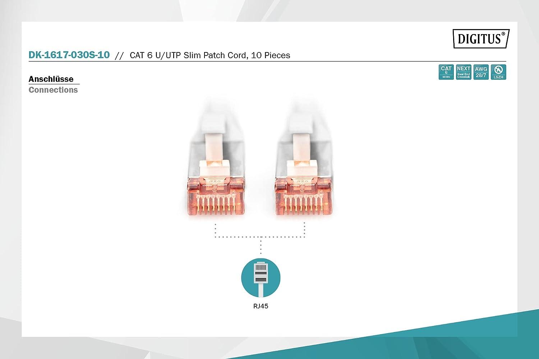 DIGITUS Cable LAN Cat 6-3 m - Slim - 10 piezas - Cable de red RJ45 - UTP sin blindaje - Compatible con Cat 6A - Gris