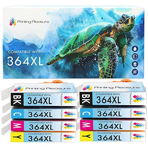 Printing Pleasure 364XL | 8 Cartuchos de Tinta 364 XL Compatible para HP Photosmart 5510 5514 5515 5520 6510 6520 B110a Photosmart Plus B209a B210a Deskjet 3070A 3520 Officejet 4610 4620