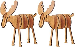 Kiar Wooden DIY Mini Elk Desktop Ornaments Merry Christmas Party Decor 2PCS Large Tree Before Nightmare White who DVD for Doctor Stole Outfit Carol Vacation Bag Bad July