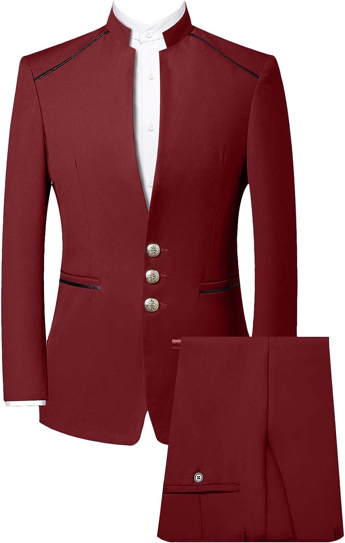 Wemaliyzd Men's Retro 2 Piece Chinese Stand Tucson Mall Tunic Collar Tr San Diego Mall Suit
