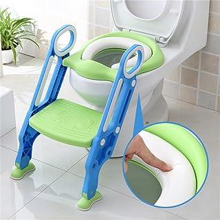 Sinbide Escalera Asiento Escalera del Tocador de Niños, Reductor WC para Niños Acolchado Suave con Escalón Plegable Abatible Ajustable, Antideslizante (Azul-Verde)