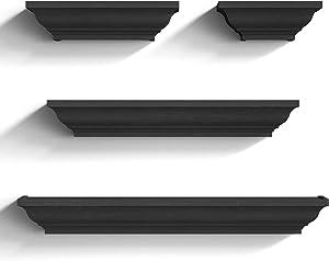 SRIWATANA Black Floating Shelves, Wood Storage Wall Shelves Set of 4 Display Ledge Shelves Decor for Bedroom, Living Room, Bathroom, Kitchen - Black