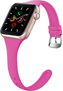 Acrbiutu Bands Compatible with Apple Watch 38mm 40mm 42mm 44mm, Thin Slim Narrow Replacement Soft Silicone Sport Accessory...