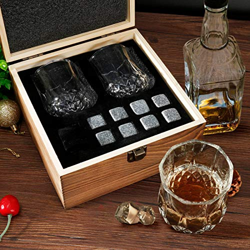 Whiskey Glass Set of 2 - Whiskey Stones Gift Set - Scotch Bourbon Glasses - Whisky Rocks Chilling Stones in Wooden Box - Burbon Gift Set for Dad Husband - Cool Idea for Birthday, Fathers Day (A)