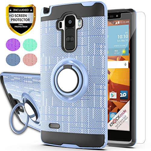 Ymhxcy for LG G4 Stylus Case,LG G Stylo Phone Case with HD Phone Screen Protector,(Not Fit LG G4) 360 Degree Rotating Ring & Bracket Dual Layer Resistant Back Cover for LS770 KC2-ZH Rose Gold