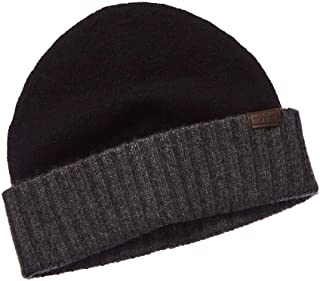 Hickey Freeman Mens Knit Cashmere Beanie, Black