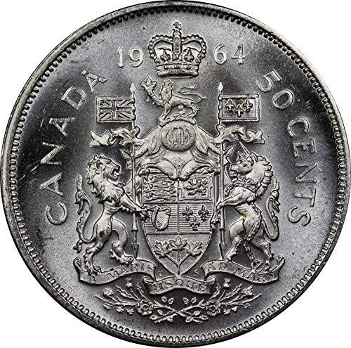 1964 Canada Silver Half Dollar Coin, Mint State Condition, Queen Elizabeth II