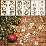 クリスマスステンシルテンプレート、30.5x14CM 12x5.5インチの描画ステンシルクリスマス雪片を描くための再利用可能なステンシル雪だるまサンタクロースフットプリント