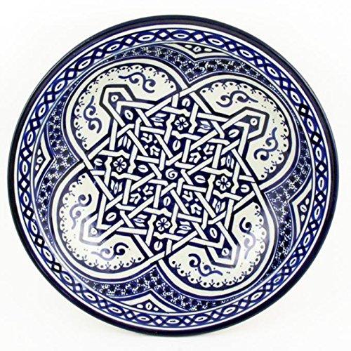 Casa Moro Orientalische handbemalte Keramik Schale f011 rund Ø 34 cm blau weiß | Salatschüssel Obstschale | ksf011