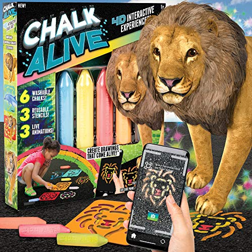Chalk Alive by Horizon Group USA, Augmented Reality Chalk Art, Watch A Lion, Tiger & Dolphin Come Alive, Includes 6 Interactive Chalks, 3 Reusable Stencils
