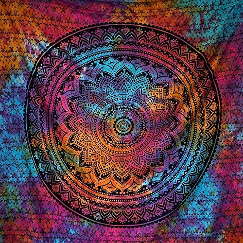 MOMOMUS Arazzo Mandala - Decoro da Parete in Cotone Indiano - Telo Etnico con Motivi Simmetrici Ispirati alla Natura - Tessuto Traspirante, Multicolore, Resistente, Elegante - 210 x 230 cm