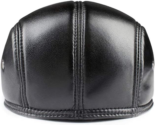 TANGADYL Womens Mens Leather Beret Flat Hat with Earmuffs Adjustable Autumn Winter
