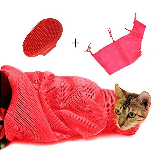 1c84a1ca801 AIDIYA] Adjustable Polyester Mesh Pet Cat Grooming Washing Bath Bag  Breathable Nail Cutting Bag Biting