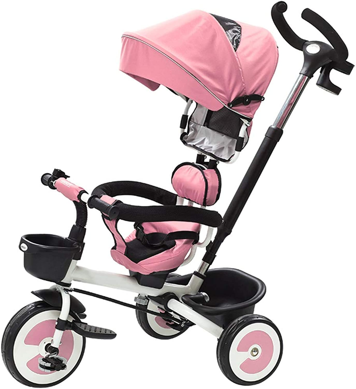YUMEIGE Kids' Tricycles Kids Tricycle 15 Years Old Birthday Gift Tricycle with Awning Load Weight 25 kg Kids Strollers Toddler Trike(blueee, red,Pink) Available