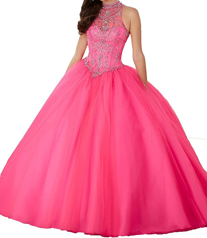 Engerla Sheer High Neck Sweet 16 Beading Quinceanera FloorLength Ball Gown
