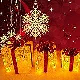 3 pacchi natalizi luminosi con fiocco per balcone o terrazzo