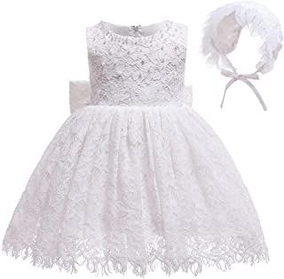 Bow Dream Baby Girl Wedding Dresses Formal Christening Baptism Party with Bonnet