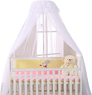 MJL Cot Canopy with Holder, Round Dome Bed Canopy, Soft Baby Mosquito Net, Crib Hanging Netting Tent, Nursery Decor Insect...